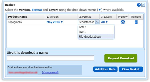File Geodatabase in Data Dowload