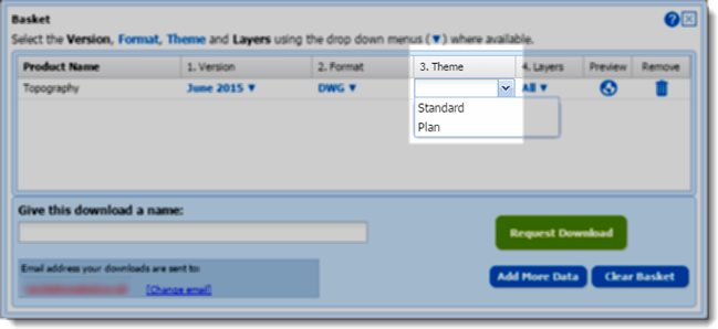 Selecting DWG plan style in the basket