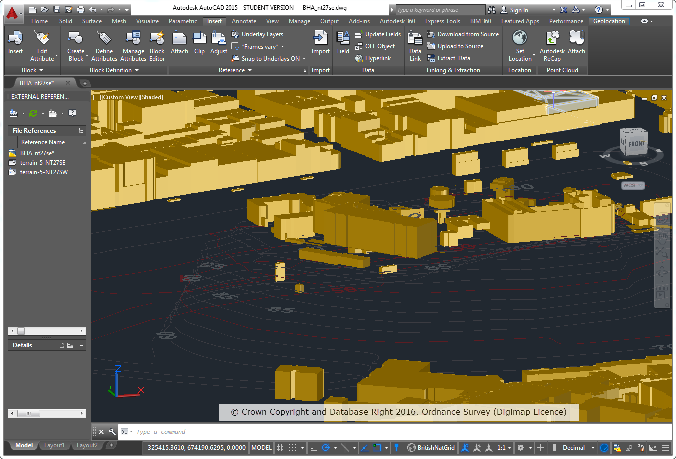 OS MasterMap Topography Layer Building Height Attribute data on top of OS Terrain 5 Contours