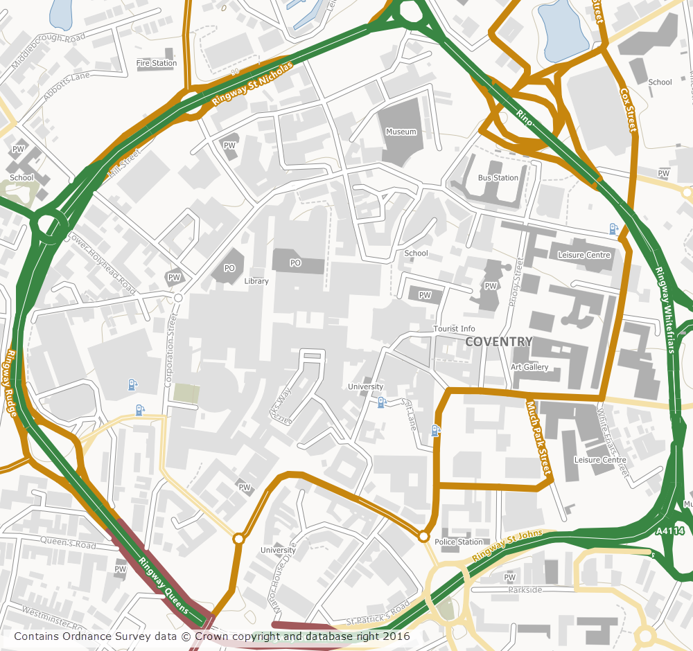 Coventry City Centre Map OS Open Map Local added to Roam » Digimap Blog Coventry City Centre Map