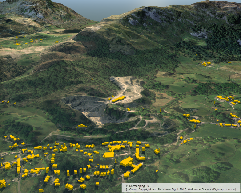 3D model using Aerial Imagery, OS Terrain 5 DTM and MasterMap Building Height Attribute