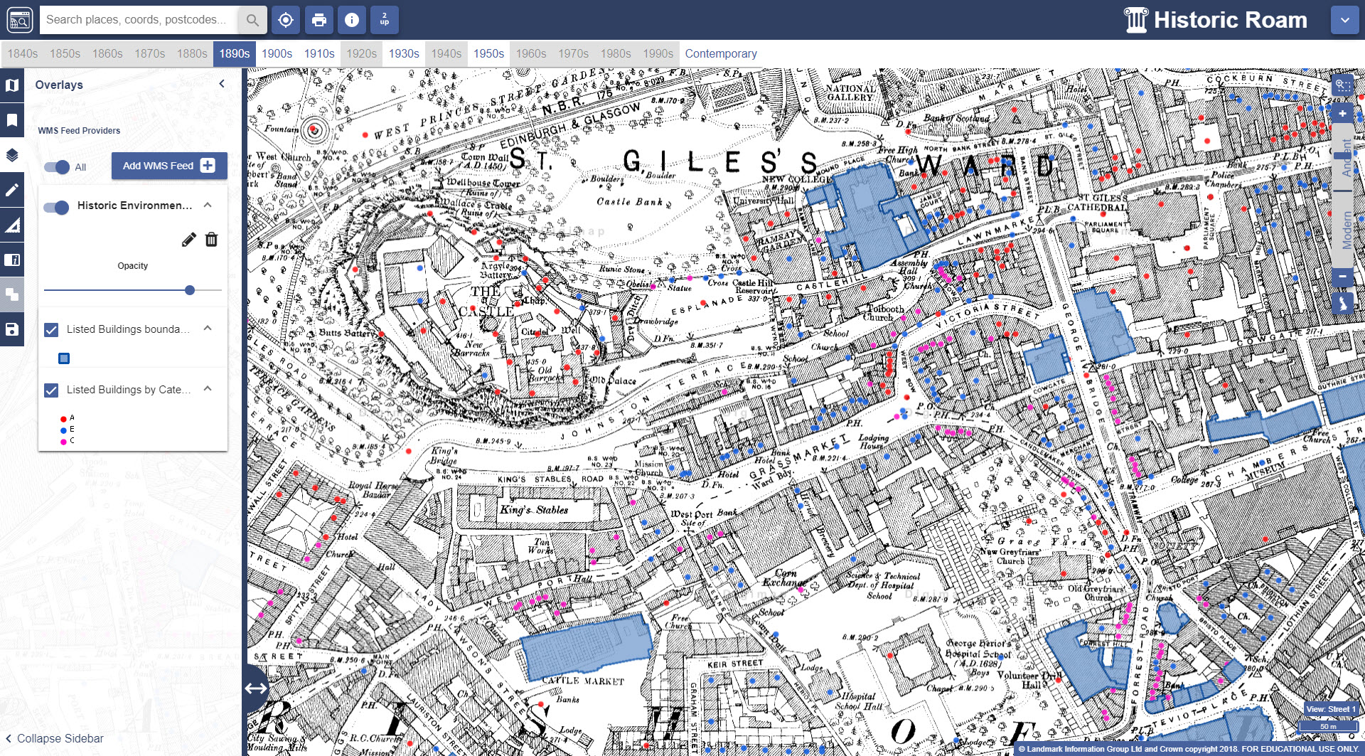 Listed buildings pulled via WMS on top of historic map from 1896 in Historic Roam