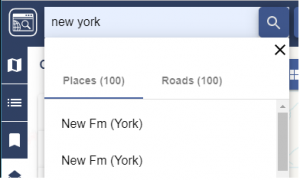 Image showing serach results split into two tabs, Places and Roads