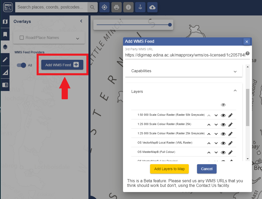Image showing settings box and options for WMS feeds