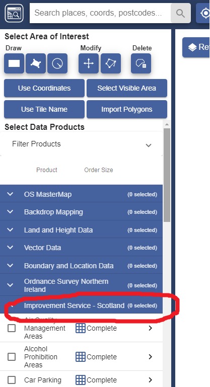 Image showing location of Improvement Service data in OS Data Download facility